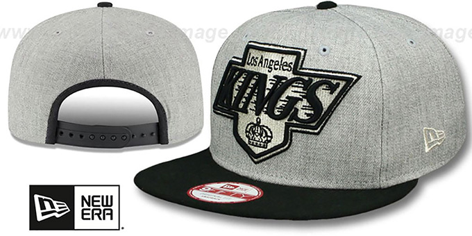 Kings 'LOGO GRAND SNAPBACK' Grey-Black Hat by New Era : pictured without stickers that these products are shipped with