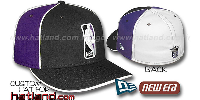 Kings 'LOGOMAN-2' Black-Purple-White Fitted Hat by New Era : pictured without stickers that these products are shipped with
