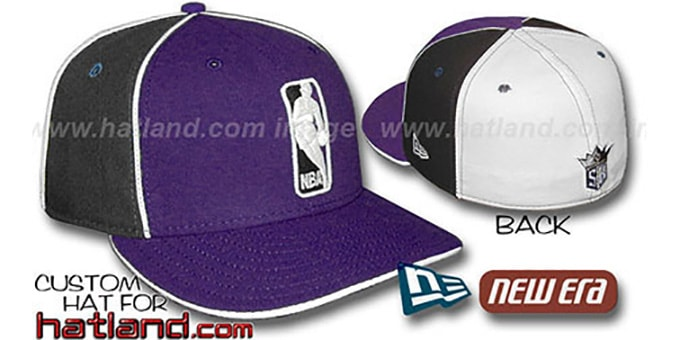 Kings 'LOGOMAN-2' Purple-Black-White Fitted Hat by New Era : pictured without stickers that these products are shipped with