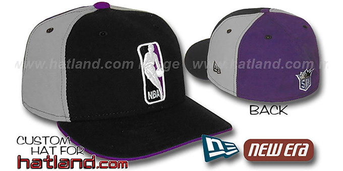 Kings 'LOGOMAN' Black-Grey-Purple Fitted Hat by New Era : pictured without stickers that these products are shipped with