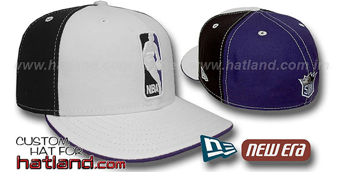 Kings 'LOGOMAN' White-Black-Purple Fitted Hat by New Era : pictured without stickers that these products are shipped with