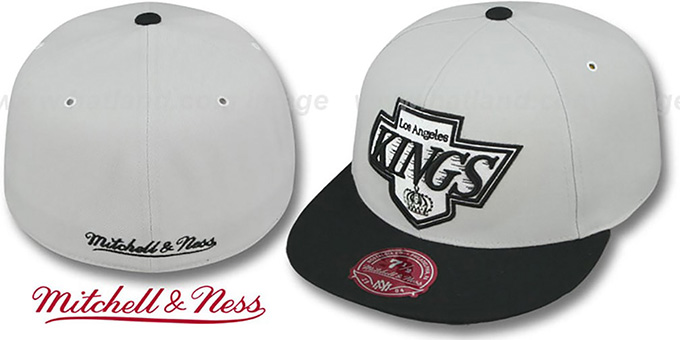 Kings 'MONOCHROME XL-LOGO' Grey-Black Fitted Hat by Mitchell & Ness : pictured without stickers that these products are shipped with