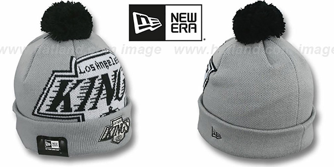 Kings 'NHL-BIGGIE' Grey Knit Beanie Hat by New Era : pictured without stickers that these products are shipped with