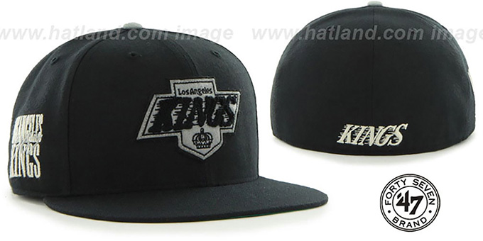 Kings 'NHL CATERPILLAR' Black Fitted Hat by 47 Brand : pictured without stickers that these products are shipped with