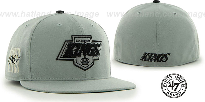 Kings 'NHL CATERPILLAR' Grey Fitted Hat by 47 Brand : pictured without stickers that these products are shipped with