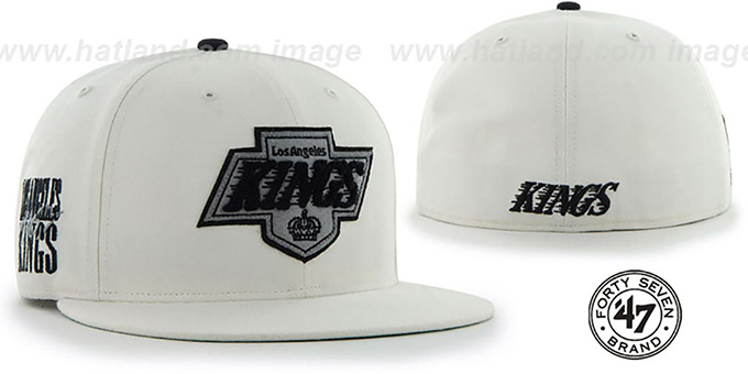 Kings 'NHL CATERPILLAR' White Fitted Hat by 47 Brand : pictured without stickers that these products are shipped with
