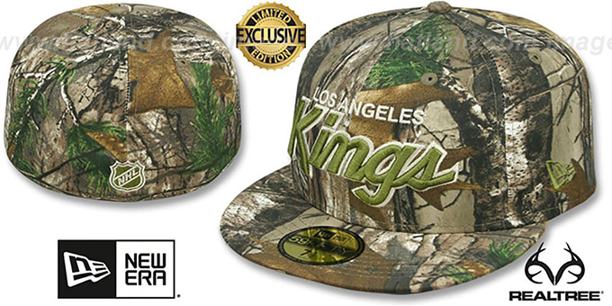 Kings 'NHL TEAM-BASIC SCRIPT' Realtree Camo Fitted Hat by New Era : pictured without stickers that these products are shipped with