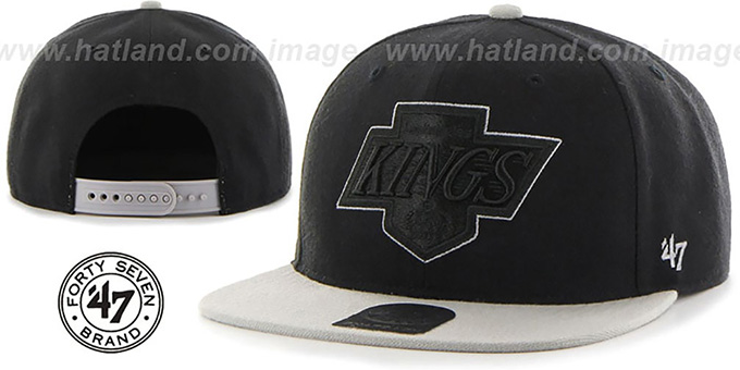Kings 'NO-SHOT SNAPBACK' Black-Grey Hat by Twins 47 Brand : pictured without stickers that these products are shipped with