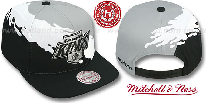 Kings 'PAINTBRUSH SNAPBACK' Grey-White-Black Hat by Mitchell & Ness : pictured without stickers that these products are shipped with