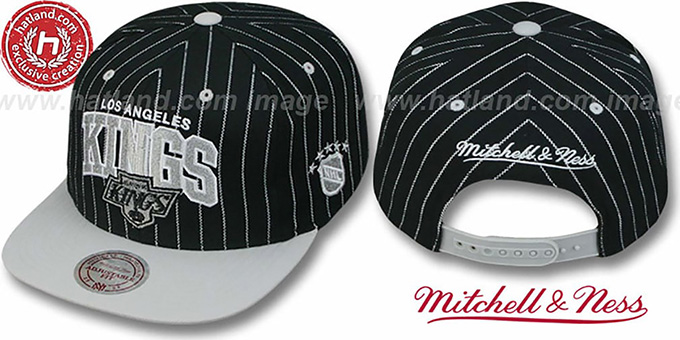 Kings 'PINSTRIPE 2T TEAM-ARCH SNAPBACK' Black-Grey Adjustable Hat by Mitchell & Ness : pictured without stickers that these products are shipped with