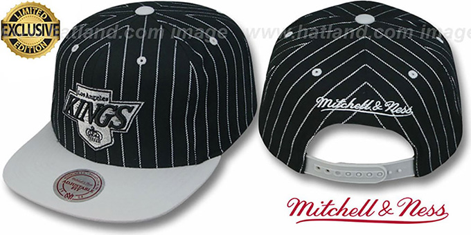 Kings 'PINSTRIPE 2T TEAM-BASIC SNAPBACK' Black-Grey Adjustable Hat by Mitchell & Ness : pictured without stickers that these products are shipped with