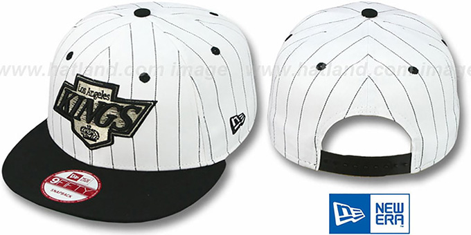 Kings 'PINSTRIPE BITD SNAPBACK' White-Black Hat by New Era : pictured without stickers that these products are shipped with