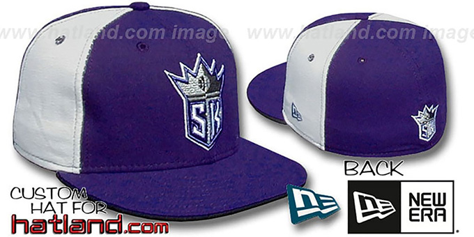 Kings 'PINWHEEL' Purple-White Fitted Hat by New Era : pictured without stickers that these products are shipped with