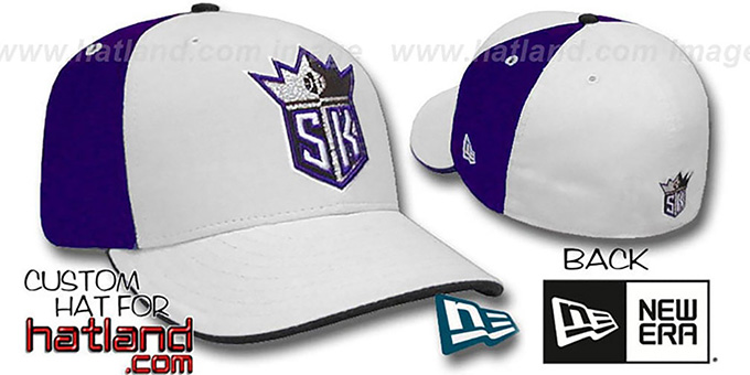 Kings 'PINWHEEL' White-Purple Fitted Hat by New Era : pictured without stickers that these products are shipped with
