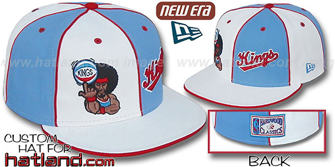 Kings 'RETROMAN DOUBLE WHAMMY' White-Columbia Fitted Hat : pictured without stickers that these products are shipped with
