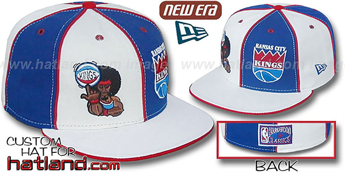 Kings 'RETROMAN DOUBLE WHAMMY' White-Royal Fitted Hat : pictured without stickers that these products are shipped with