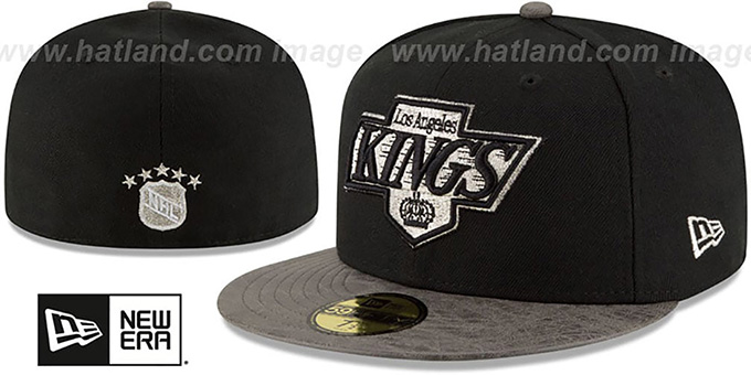 Kings 'RUSTIC-VIZE' Black-Grey Fitted Hat by New Era : pictured without stickers that these products are shipped with
