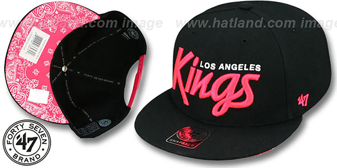 Kings 'SCRIPT PAISLEY SNAPBACK' Black-Pink Hat by Twins 47 Brand : pictured without stickers that these products are shipped with