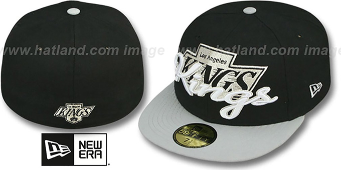 Kings 'SCRIPT-PUNCH' Black-Grey Fitted Hat by New Era : pictured without stickers that these products are shipped with