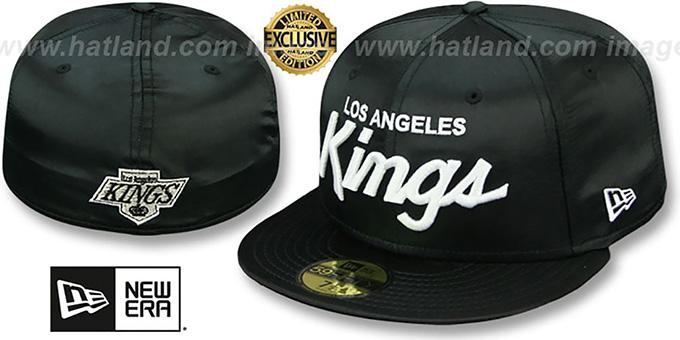 b65e971b5f8 Kings SCRIPT SATIN BASIC Black Fitted Hat by New Era