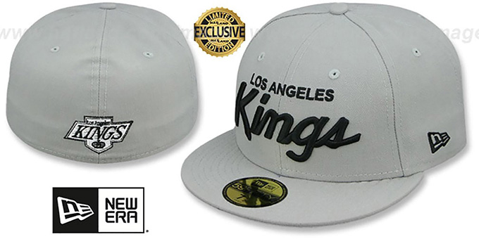 Kings 'SCRIPT TEAM-BASIC' Grey-Black Fitted Hat by New Era : pictured without stickers that these products are shipped with