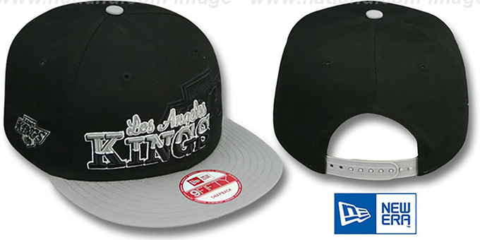 Kings 'SPLIT-BLOCK SNAPBACK' Black-Grey Hat by New Era : pictured without stickers that these products are shipped with