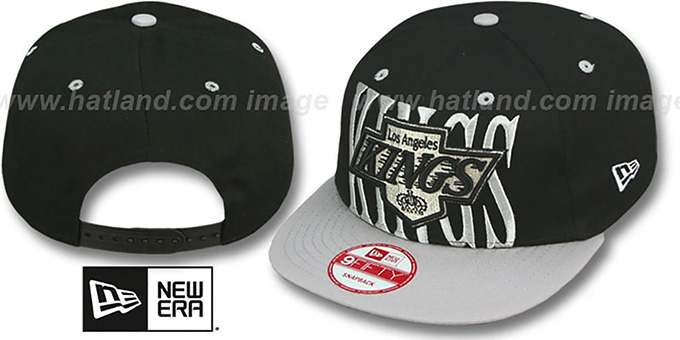 Kings 'STEP-ABOVE SNAPBACK' Black-Grey Hat by New Era : pictured without stickers that these products are shipped with