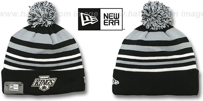 Kings 'STRIPEOUT' Knit Beanie Hat by New Era : pictured without stickers that these products are shipped with