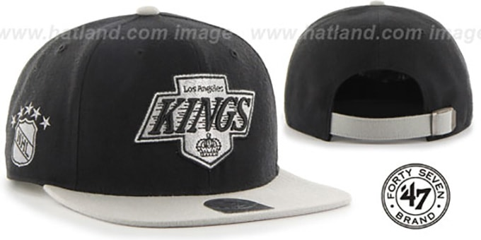 Kings 'SUPER-SHOT STRAPBACK' Black-Grey Hat by Twins 47 Brand : pictured without stickers that these products are shipped with