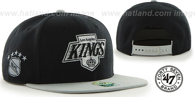 Kings 'SURE-SHOT SNAPBACK' Black-Grey Hat by Twins 47 Brand : pictured without stickers that these products are shipped with