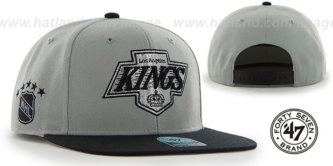 Kings 'SURE-SHOT SNAPBACK' Grey-Black Hat by Twins 47 Brand : pictured without stickers that these products are shipped with