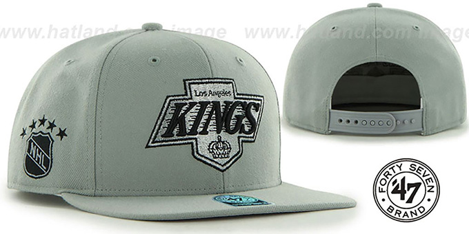 Kings 'SURE-SHOT SNAPBACK' Grey Hat by Twins 47 Brand : pictured without stickers that these products are shipped with