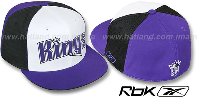 Kings 'SWINGMAN' White-Black-Purple Fitted Hat by Reebok : pictured without stickers that these products are shipped with