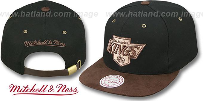 Kings 'TC-BROWN SUEDE STRAPBACK' Hat Mitchell & Ness : pictured without stickers that these products are shipped with