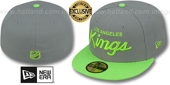 Kings 'TEAM-SCRIPT' Ash Grey-Lime Fitted Hat by New Era : pictured without stickers that these products are shipped with