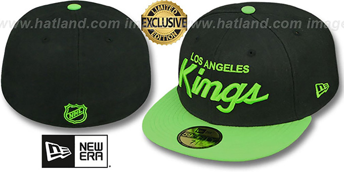 Kings 'TEAM-SCRIPT' Black-Lime Fitted Hat by New Era : pictured without stickers that these products are shipped with