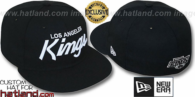 Kings 'TEAM-SCRIPT' Black-White Fitted Hat by New Era : pictured without stickers that these products are shipped with
