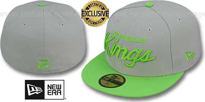 Kings 'TEAM-SCRIPT' Light Grey-Lime Fitted Hat by New Era : pictured without stickers that these products are shipped with