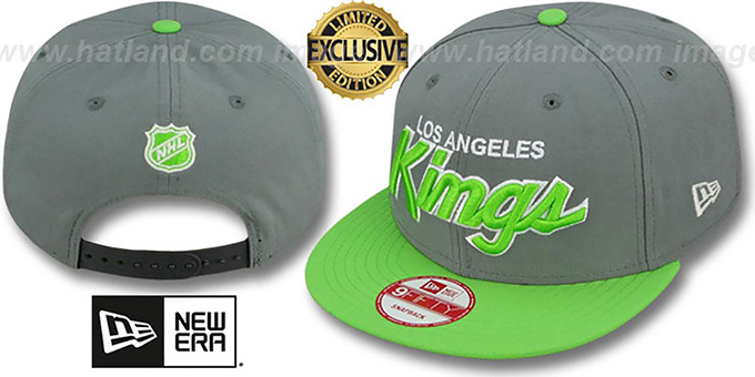 Kings 'TEAM-SCRIPT SNAPBACK' Ash Grey-Lime Hat by New Era : pictured without stickers that these products are shipped with