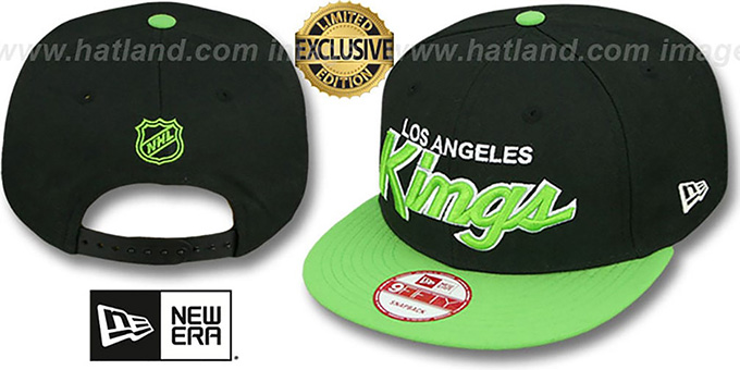 Kings 'TEAM-SCRIPT SNAPBACK' Black-Lime Hat by New Era : pictured without stickers that these products are shipped with