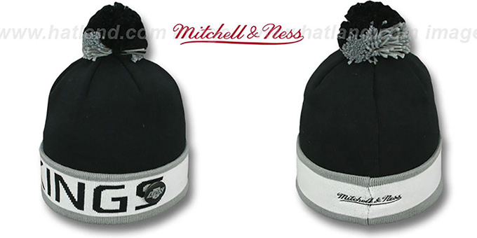 Kings 'THE-BUTTON' Knit Beanie Hat by Michell & Ness : pictured without stickers that these products are shipped with