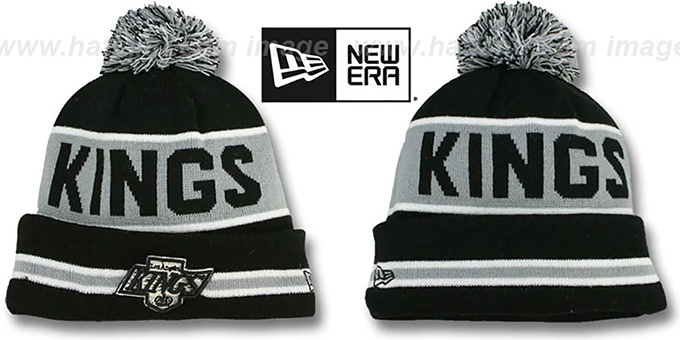 Kings 'THE-COACH' Black Knit Beanie Hat by New Era : pictured without stickers that these products are shipped with