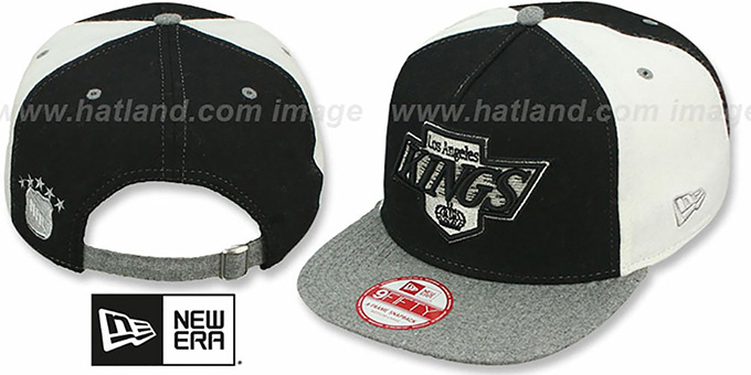 Kings 'TRIPLE MELTON STRAPBACK' Black-White-Grey Hat by New Era : pictured without stickers that these products are shipped with
