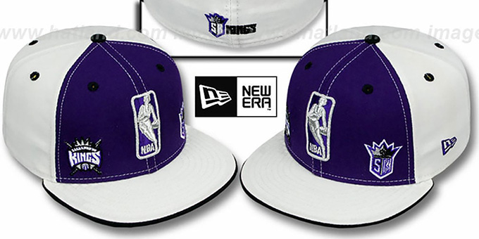 Kings 'TRIPLE THREAT' Purple-White Fitted Hat by New Era : pictured without stickers that these products are shipped with