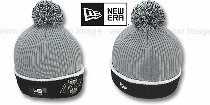 Kings 'VINTAGE FIRESIDE' Grey-Black Knit Beanie Hat by New Era : pictured without stickers that these products are shipped with