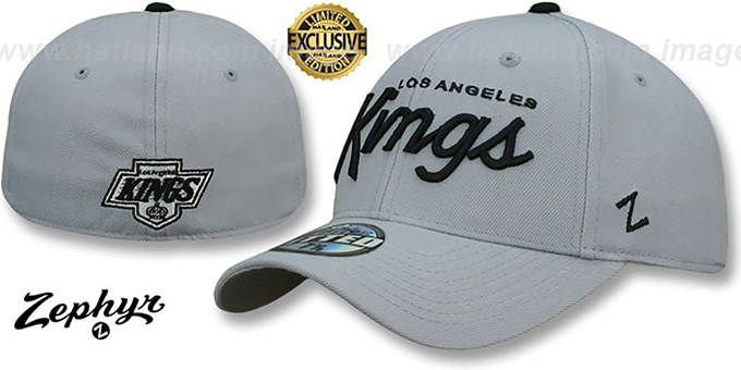 Kings 'VINTAGE SCRIPT SHOOTOUT' Grey Fitted Hat by Zephyr