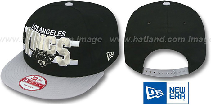 Kings 'WORDSTRIPE SNAPBACK' Black-Grey Hat by New Era : pictured without stickers that these products are shipped with