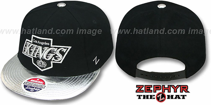Kings 'ZENITH SNAPBACK' Black-Silver Hat by Zephyr : pictured without stickers that these products are shipped with