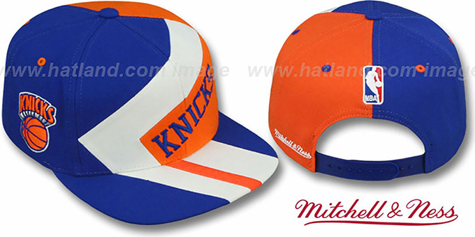Knicks '1-ON-1 SNAPBACK' Royal-White-Orange Hat by Mitchell & Ness : pictured without stickers that these products are shipped with