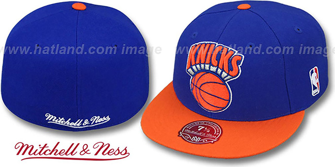 Knicks '2T XL-LOGO' Royal-Orange Fitted Hat by Mitchell & Ness : pictured without stickers that these products are shipped with